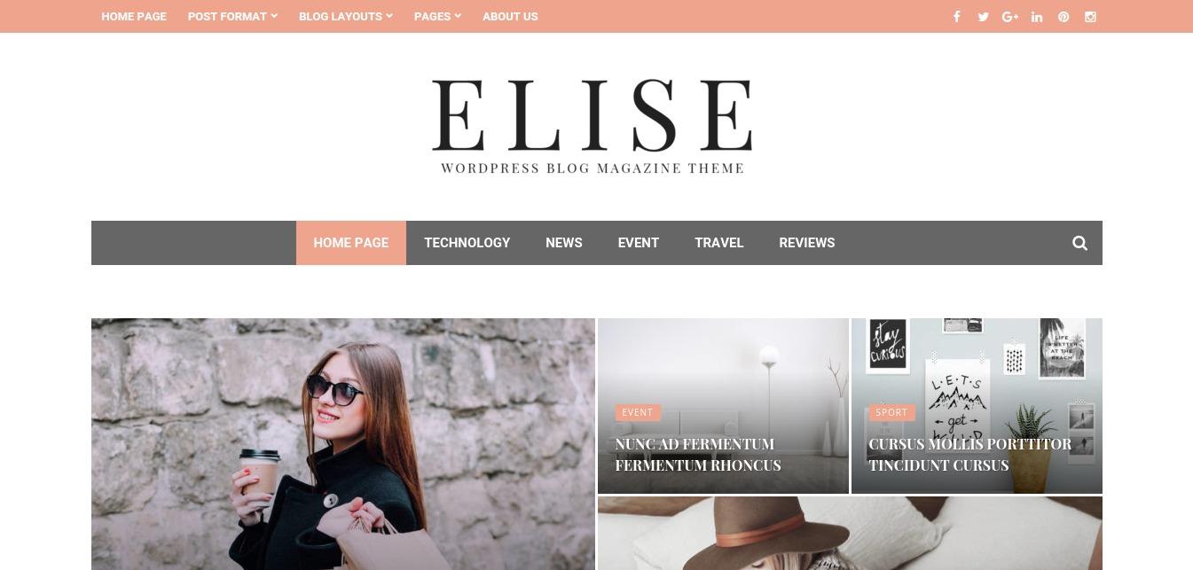 Elise – WordPress Blog Magazine and Blog Theme