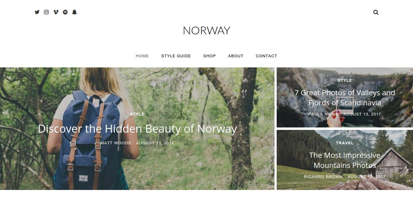 Norway – Responsive WordPress Travel Blog Magazine Theme