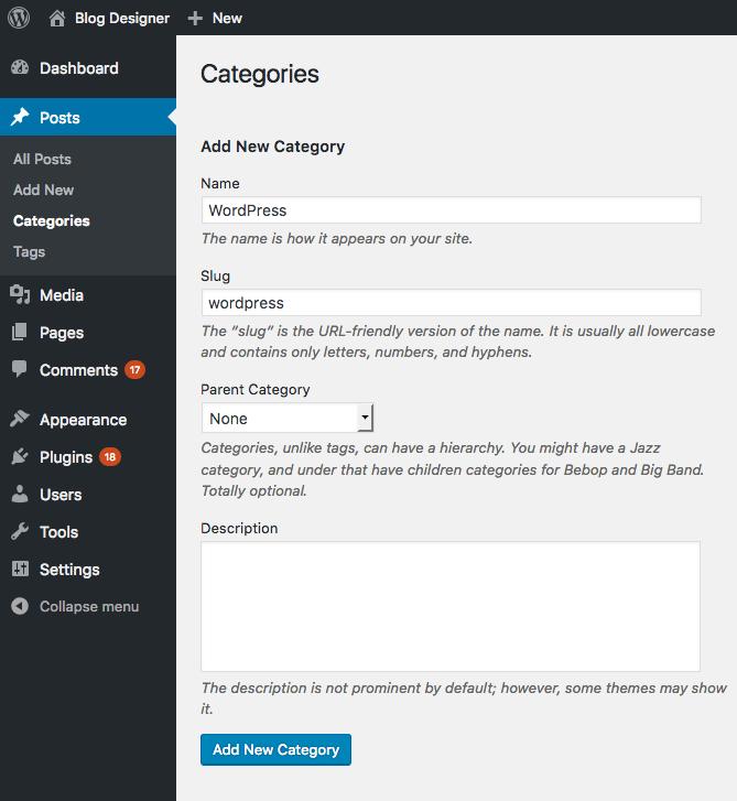 Add post category data