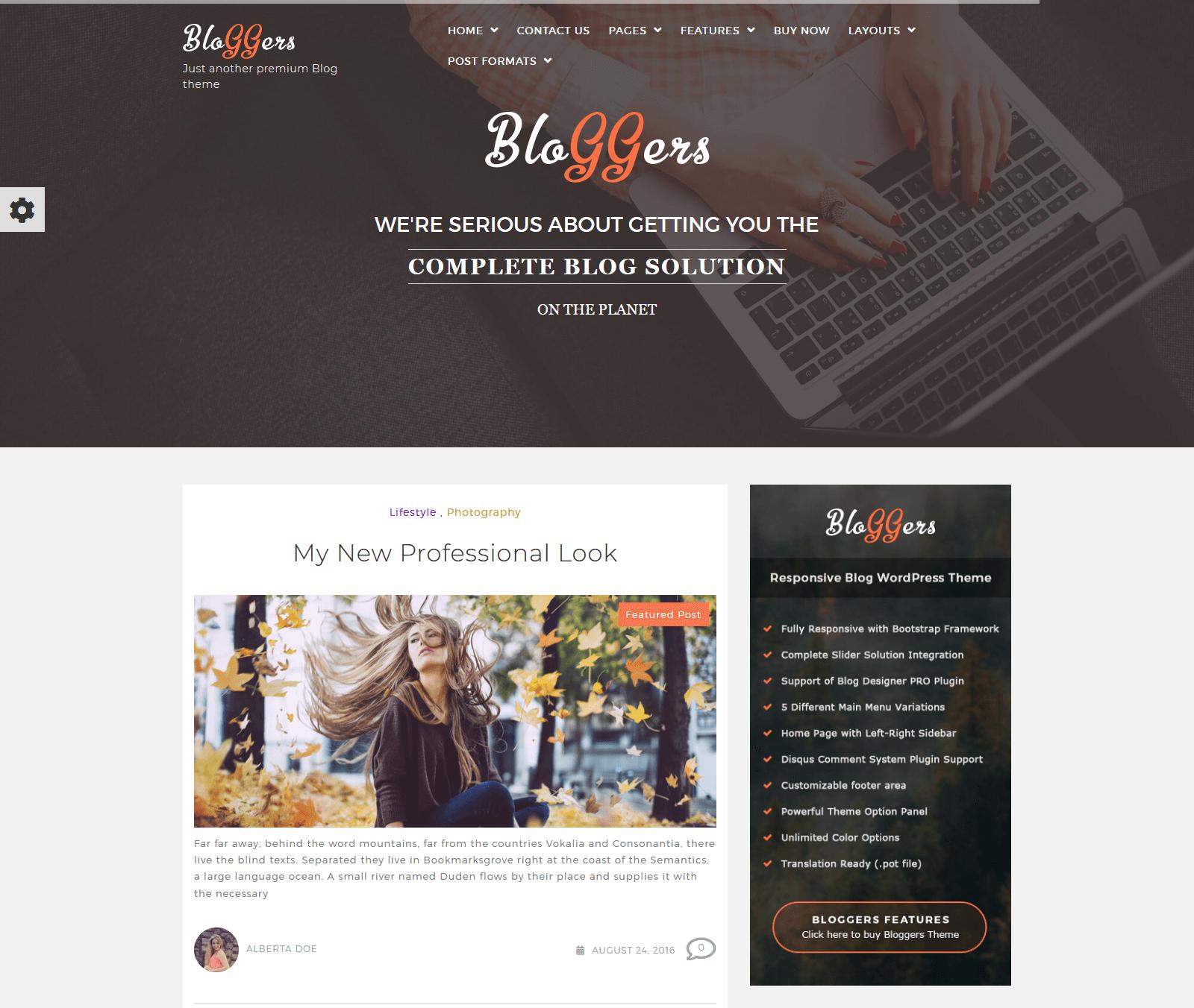 bloggers WordPress Theme